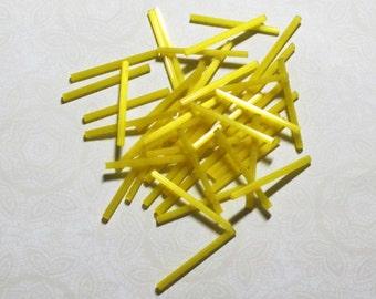 Yellow Satin 30mm Long Bugle Beads 35 pcs
