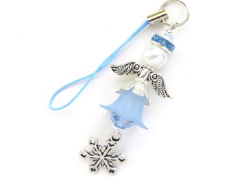 JANUARY ANGEL-  Zipper Pull, Purse Charm, Cell Phone Charm- Beaded Lucite Flowers and Crystals