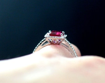 Red Ruby Engagement Ring Emerald cut & Diamonds Halo Ione 2ct 8x6mm Custom Size White-Yellow-Rose Gold-10k-14k-18k-Platinum