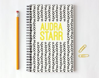 Personalized Notebook Black and Yellow Custom School Supplies Tribal Print Arrow Design Journal New Job Gifts Personal Note Book Hand Drawn