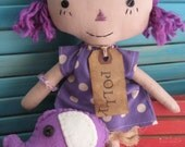 Primitive Purple Hair Raggedy Doll with Purple Elephant SET