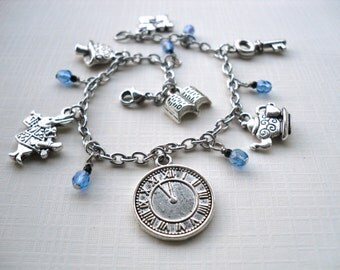 Alice in Wonderland bracelet - Blue glass - Surgical Steel