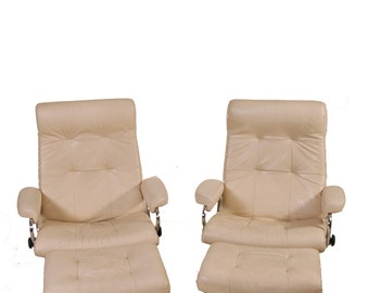 Matching Ekornes Stressless Recliner Chair and Ottomans Leather Large Bone White Chrome Metal Base (one left)