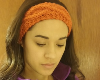 Slim Orange Cable Knit Ear Warmer