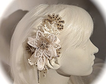 Lace Bridal Hairpiece Wedding Accessories White Rhinestone Headpiece  B-144