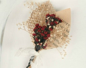 Handmade Book Page Boutonniere, Dried Red Button Flowers, Dark Red Wedding, Burlap & Lace, Leaf, Pin On Corsage, Bridal Party, Grooms Men