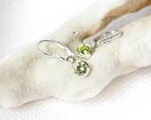 Kids' Earrings Leverback Peridot Green , Leverback Earrings , August birthstone , Peridot Green CZ Sterling Silver Earrings , Girl's Gift