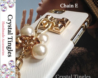 Stunning Beautiful Classic Leather Gold Plated Wristlet Wrist Chain Faux White Pearls Charms Tassel Studs Case For iPhone SE 5S
