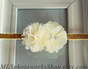 Cream & Gold Flower Headband for Babies, Toddlers, Girls - Also Available in Ivory and White