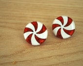Peppermint Candy Earrings -- Peppermint Candy Studs, Red Peppermint Candy