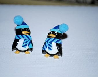 Penguin Studs -- Penguin Earrings, Black and White