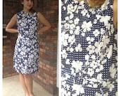 Serbin Blossoms Shift Dress 1960s L/XL