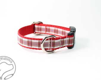 """Dress Stuart (Stewart) Tartan Dog Collar - 3/4"""" (19mm) - Red & White Plaid Dog Collar - Matingale or Side Release - Choice of style and size"""
