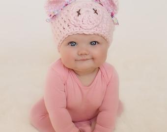 baby hat pig hat newborn hat newborn girl hat crochet pig hat  sc 1 st  Etsy & Baby Pig Hat Crochet Pig Hat Newborn Pig Hat Pig Hat Baby