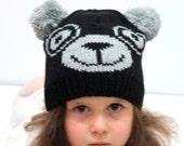 Knit Panda Ear Hat, panda Ear Beanie, Black Gray Panda Hats, Chunky Knit Panda Hat, Winter Accessories, Holiday Fashion, Winter Hat
