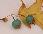 CLEARANCE!  Large African Turquoise Glass Bead Earrings   554