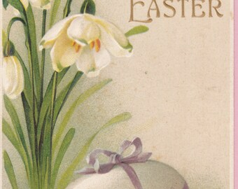 "Ca. 1912 ""Lilies and an Egg"" Embossed Easter Greetings Post Card - 1882"
