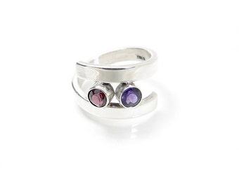 Wrap Ring - Custom Gemstone Ring - Mother's Ring - Bypass Ring - Two Gemstone Ring - Birthstone Ring - Silver Gemstone Ring - Mother's Ring