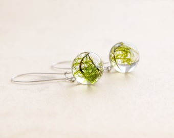 Green moss earrings - nature jewelry for naturalist - botanical jewellery gift
