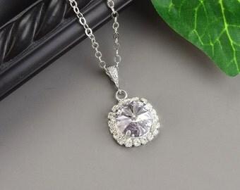 Lavender Necklace - Swarovski Crystal Bridesmaid Jewelry - Silver Light Purple Bridesmaid Necklace - Wedding Jewelry - Bridal Jewelry