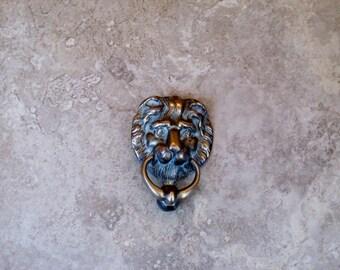 Vintage Brass Lion Head Lion Face Door Knocker Edwardian Door Furniture Home Decor