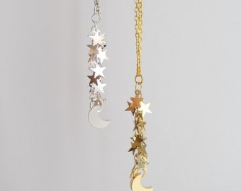 Stars Moon Necklace. Silver or Gold. Sparkle. Star and moon necklace. Dangling stars and moon