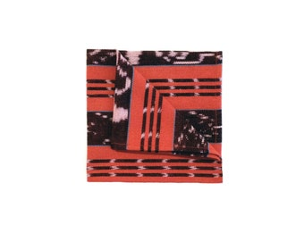 Red and Black Ikat Woven Cotton Pocket square