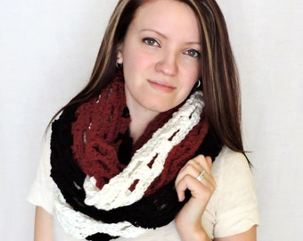 Red, Black, White Infinity Chunky Scarf