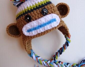 Ready to Ship- Newborn Boy Sock Monkey Hat- Brown, Blue, White, Orange, Green- Photo prop