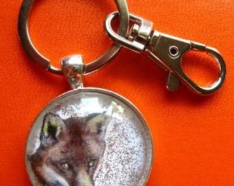 Fox-Red Fox-Keychain-Keyring-Fox Keychain-Silver-Large Swivel Lobster Clasp