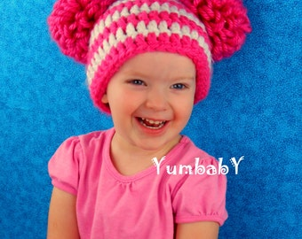 Pink and White Striped Double Pom Pom Hat photo prop