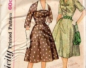 "1960s Women's Dress with Detachble Collar Pattern - Size 14, Bust 34""- Simplicity 3552 Slenderette"