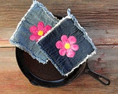 Denim Hot Pads - Pink Flower Power Blue Jean Pot Holders - The Best Potholders Ever .