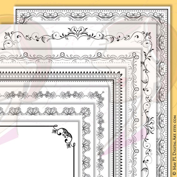 Wedding And Certificate Floral Border Border Clipart: Borders Frames Clip Art 8x11