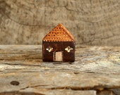 Miniature house, clay tiny figure, Mountain Village No.3, fall winter home decor