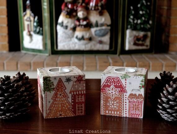 Christmas candle holders, Christmas gift, wood tea light holders, hostess gift