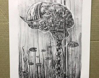 Anatomical art - brain art - anatomical print - contemporary art - wall art - bohemian art - art for office - Helmet of Aquatic Resolution