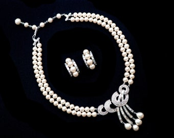 Trifari Pearl Necklace and Earrings Rhinestone Katz Bride Wedding Signed Vintage Set