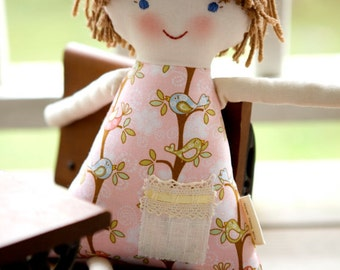Newborn Cloth Doll, Short Hair Rag Doll, Waldorf, Handmade Personalized, Charlotte