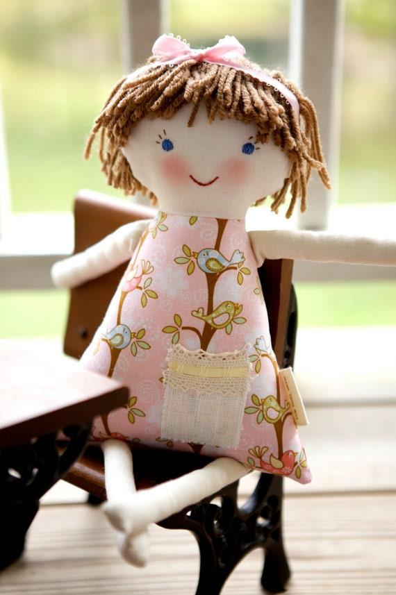 Newborn Cloth Doll, Short Hair Rag Doll, Waldorf, Handmade Personalized, Charlotte