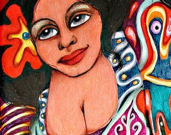 Spanish Lady Print, Mexican Folk Art,  Woman Art Print, Girls Bedroom Decor, Latin Art, Red And Black, Senorita by Paula DiLeo_