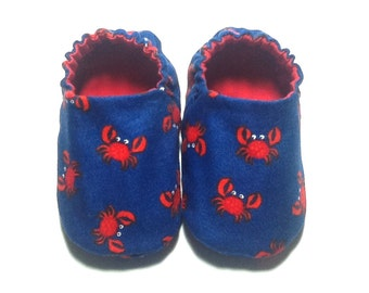 Crabs Baby Boy Shoes, 0-6 mos. Baby Booties, Baby Gift