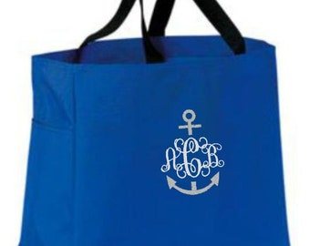 Personalized Tote Bag, Tote Bag, Tote, Monogram, Gift, Pool Bag, Beach Bag, Anchor Monogram, Nautical, Personalized Gifts, Embroidery