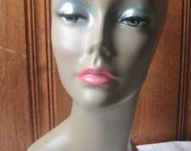 Metallic Eyeshadow Mannequin Head - Realistic Photo Prop Bust - Dark Tan Brown Skin / Black Female Mannequin - Wig, Hat, Scarf Shop Display