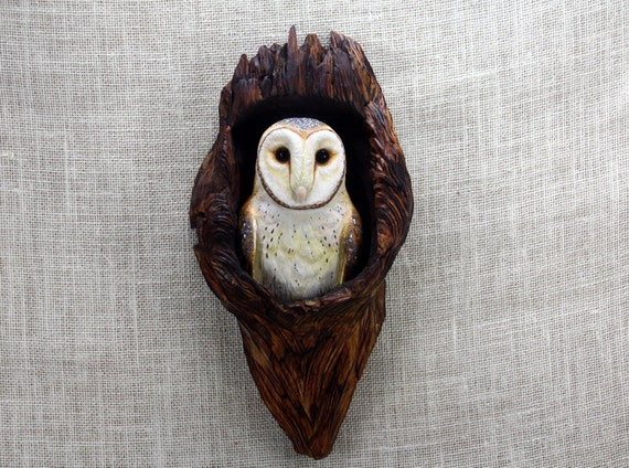 Barn owl woodcarving carved bird hand