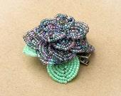 Purple Flower Hair Clip, Beaded Violet Hair Flower, Purple French Beaded Hairpiece
