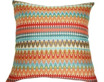 Turquoise Coral Zig Zag Chevron Pillow - Front & Back -Orange Coral Aqua Turquoise Geometric Greek Key Designer Cover - Throw Pillow