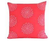 Red Decorative Pillow Cover with Pink Flowers