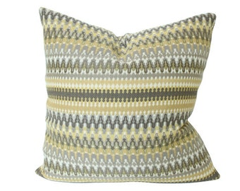 Yellow and Brown Striped Ikat Designer Pillow Cover