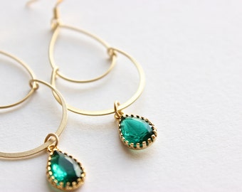 Gold Dangle Earrings - Bridal Earrings - Matte Gold Teardrop Dangle Earrings with Emerald Green Faceted Drops